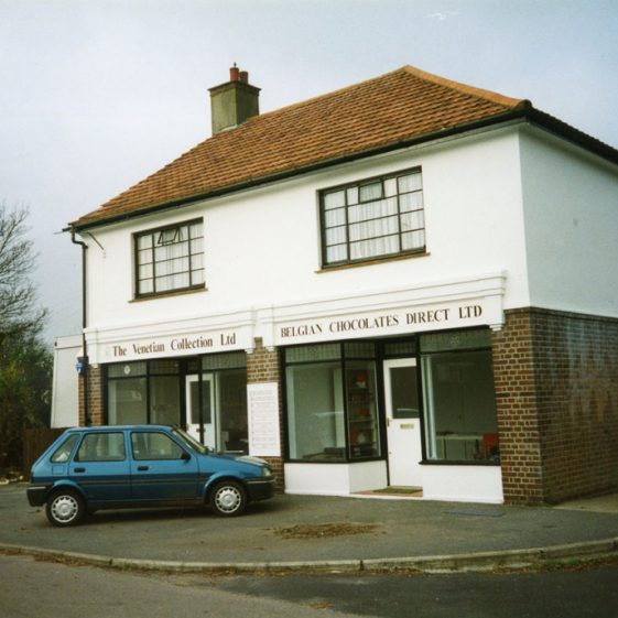The two shops at the end of The Droveway in 1998 then named 'The Venetian Collection Ltd' and 'Belgian Chocolates Direct Ltd'