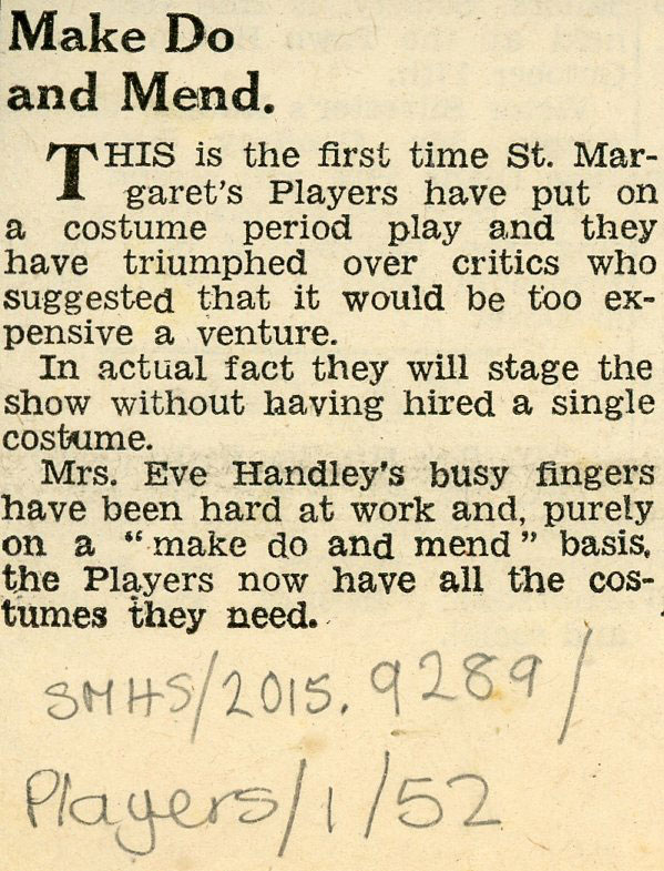 Press cutting about St. Margaret's Players costume production by Eve Handley