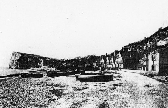 Boats on St Margaret's Bay beach.  c1910