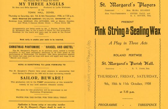 Programme for St Margaret's Players production of 'Pink String and Sealing Wax'.1958