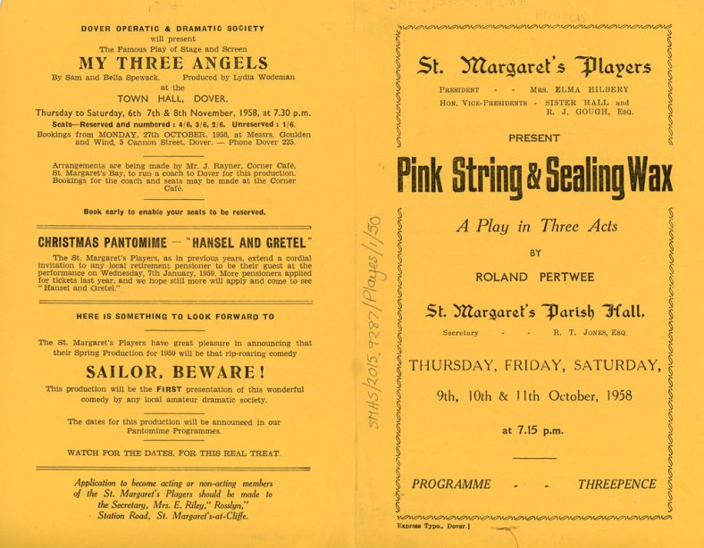 Programme of St Margaret's Players production 'Pink String and Sealing Wax'.1958