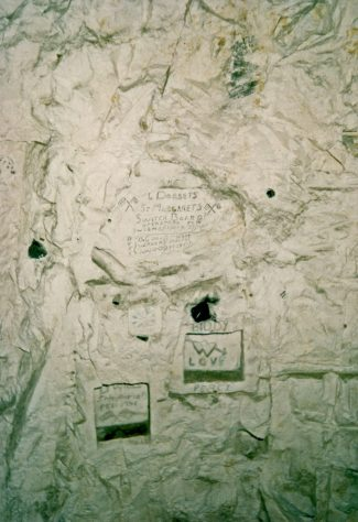 The White House, St Margaret's Road, wartime graffiti in the tunnels beneath the house
