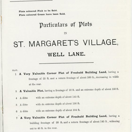Building plots for sale in Well Lane, 30 August 1901