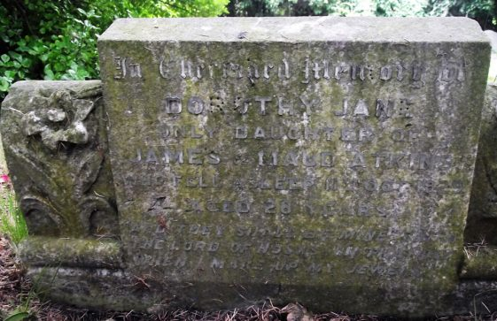 Gravestone of ATKINS Dorothy Jane 1929; ATKINS Maud Mary 1947; ATKINS James Edward 1940; ATKINS Mary Eileen 1932