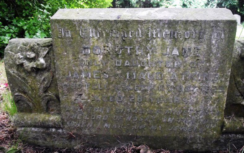 Gravestone of ATKINS Dorothy Jane 1929; ATKINS Maud Mary 1947; ATKINS James Edward 1940;  ATKINS Mary 1932 | Dawn Sedgwick