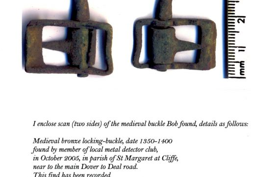 Medieval bronze locking buckle found in October 2005