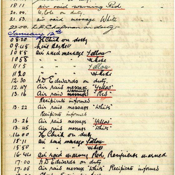 St Margaret's ARP (Air Raid Precautions) Log. Volume 3. 2 November 1940 - 17 February 1941. Pages 110-119