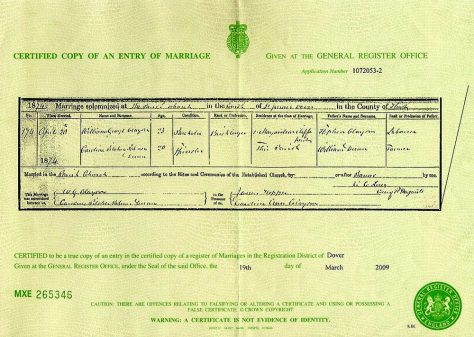 Marriage Certificate of Caroline Pilcher Palmer Dunn and William George Clayson.  20 April 1874