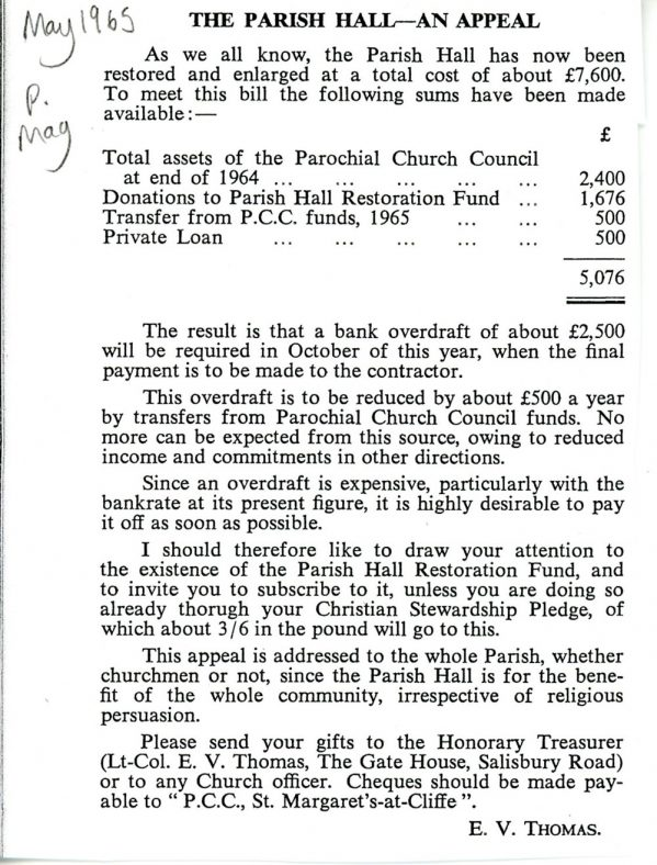 Parish Hall Control and Funding. 1965 and 1969