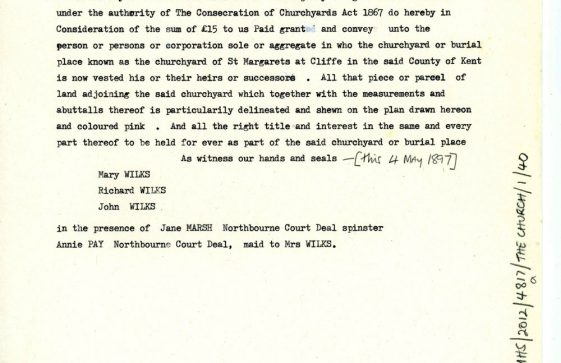 Transcript of conveyance by the Executors of Richard Wilks of land adjoining the churchyard. 4 May 1897