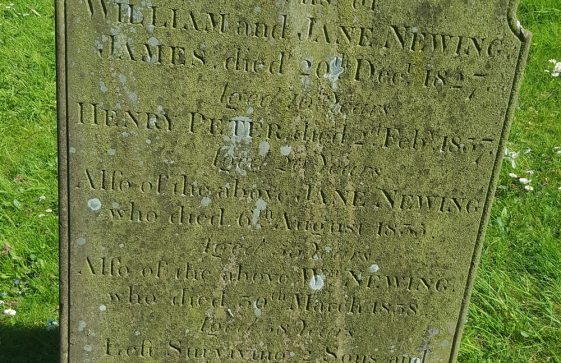 Gravestone of NEWING James 1827; NEWING Henry Peter 1837; NEWING Jane 1835; NEWING William 1838; NEWING 2 infants