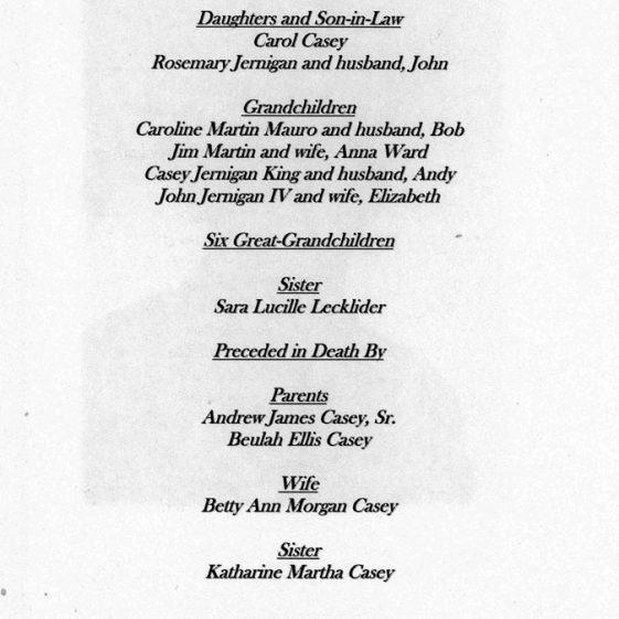Order of Service for Frank Casey 5th November 2013