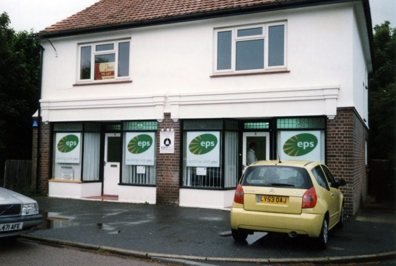 The two shops in The Droveway when let to EPS, contractors to DDC Housing Department.  5 June 2009