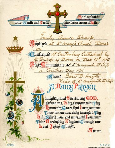 Confirmation Certificate for Emily Annie Sharpe. 14th December 1911