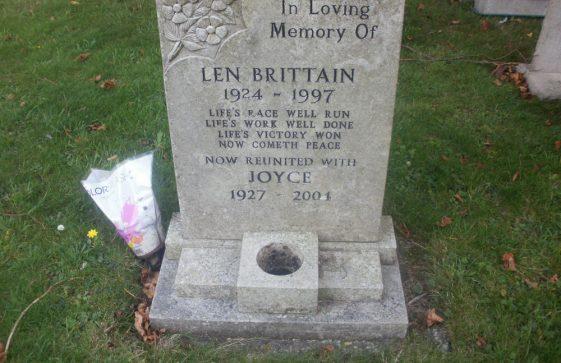 Gravestone of BRITTAIN Joyce 2004; BRITTAIN Leonard Ernest 1997