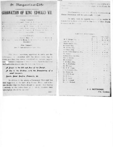 Leaflet and committee minutes relating to St Margaret's celebrations for the Coronation of King Edward VII 1902