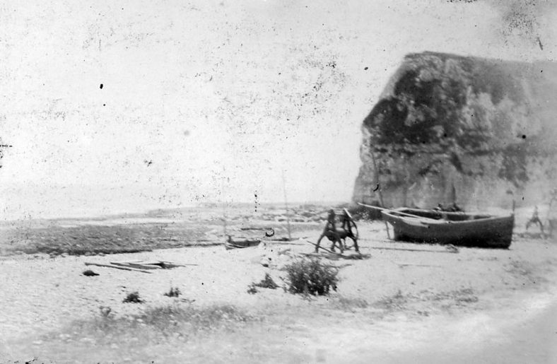 Boats on St Margaret's Bay beach. c1880