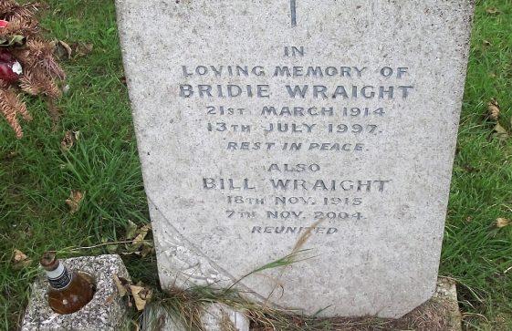 Gravestone of WRAIGHT Bridie 1997; WRAIGHT Bill 2004