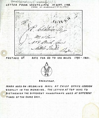 Envelope sent from Westcliffe on 19th September 1798