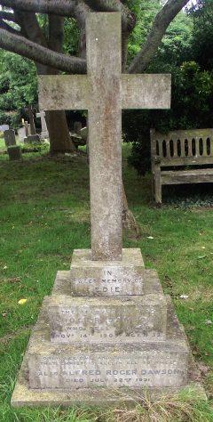 Gravestone of DAWSON Edie 1909; DAWSON Alfred Roger 1931; STOREY Olive Marguerite 1977