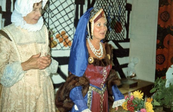 St Margaret's Players stall at the 'Elizabethan Summer Fayre' held in Portal House. 1984