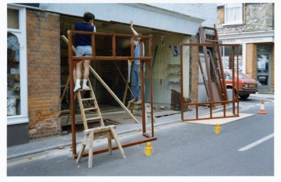 Shop frontage being fitted High Street / Gordon Mews. 1988