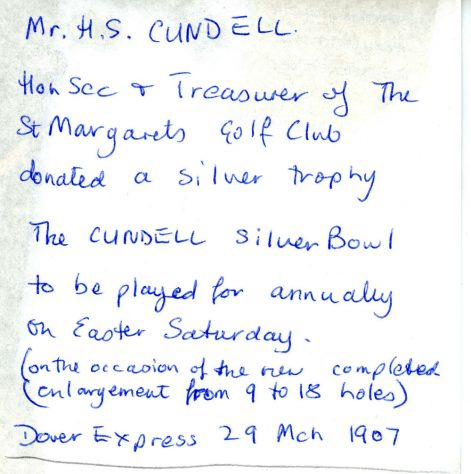 The Cundell Silver Bowl to be played for at St Margaret's Golf Club. 29 March 1907