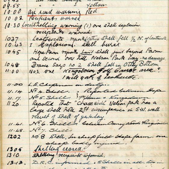 St Margaret's ARP (Air Raid Precautions) Log. Volume 3. 2 November 1940 - 17 February 1941. Pages 61-69