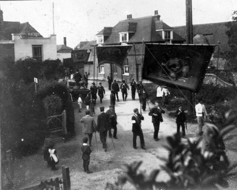 Parade through the High Street, St Margaret's at Cliffe c.1910