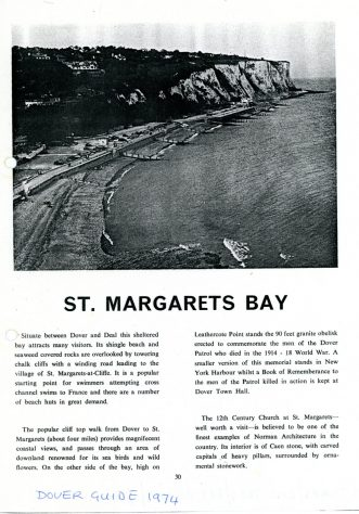 Extract from the Dover Guide 1974 re St Margaret's Bay