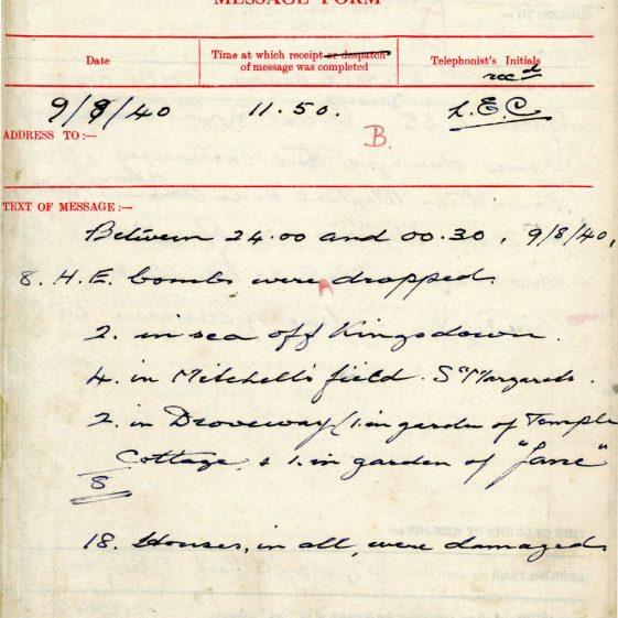 St Margaret's ARP (Air Raid Precautions) Log. Volume 2. 24 July 1940 - 2 November 1940. Pages 10-16