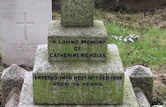 Gravestone of NICHOLLS Catherine 1936; NICHOLLS William 1937; SIXSMITH Mary W N 1998; SYMINGTON David 2006