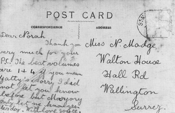 Postcard sent from Joyce Holman, a pupil at Penlee School to Nora Madge