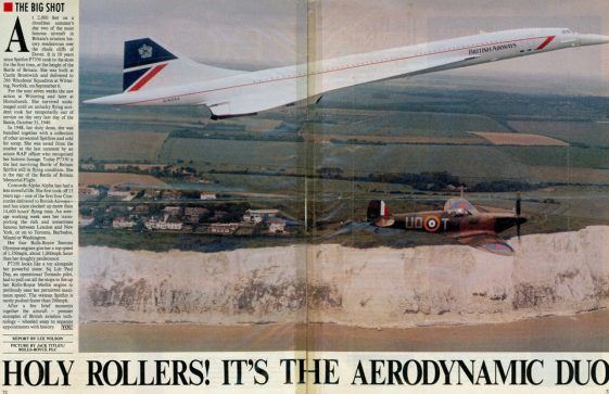 Concorde and Spitfire over the cliffs at St Margaret's Bay. c1990