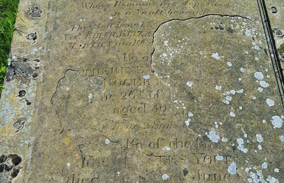 Gravestone of YOUDEN William 1846; YOUDEN Elizabeth 1842; YOUDEN Catherine De..... ? ; YOUDEN Roger Kl..... ? ; YOUDEN John Eastes 1863; YOUDEN Martha 1880