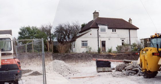 Images of building plot and new build of two dwellings, Nos 18 and 20, adjacent to the Old School, Kingsdown Road. March to June 2009