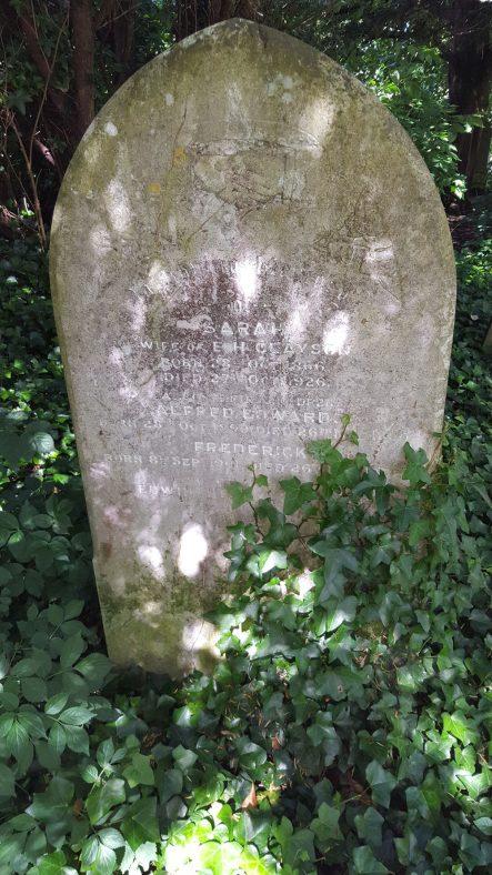 Gravestone of CLAYSON Sarah 1926; CLAYSON Alfred Edwards 1900; CLAYSON Frederick 1902; CLAYSON Edwin Henry 1948 | Dawn Sedgwick