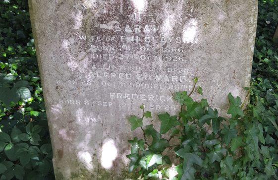 Gravestone of CLAYSON Sarah 1926; CLAYSON Alfred Edwards 1900; CLAYSON Frederick 1902; CLAYSON Edwin Henry 1948
