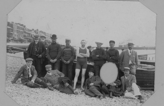 Channel swimmers in training and their support team at Dover. August 1904