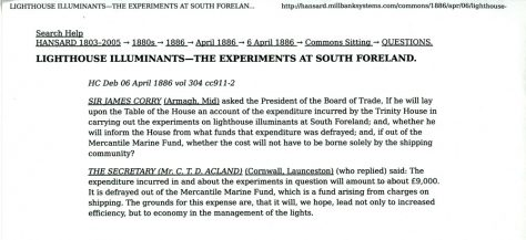 The three experimental lights at the South Foreland Lighthouse. Report from Hansard April 6 1886.