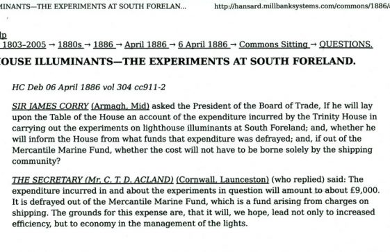 Cost of experimental lights at the South Foreland Lighthouse. Report from Hansard April 6 1886.