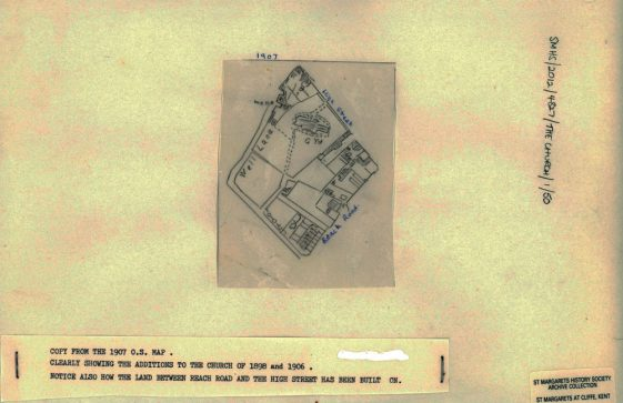 A section of the 1907 Ordnance Survey map showing the churchyard.
