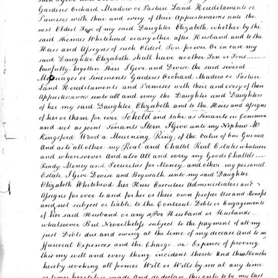 Transcript of Attested Copy Probate of the Will of Thomas Wood deceased 20th June 1791
