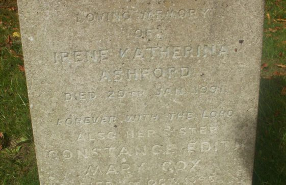 Gravestone of ASHFORD Irene Katherina 1991; COX Constance Edith Mary 1995