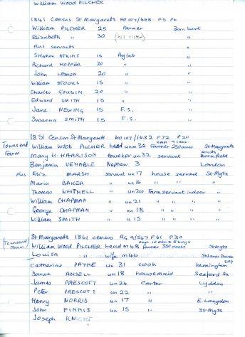 1841 - 1881 census for Townsend Farm