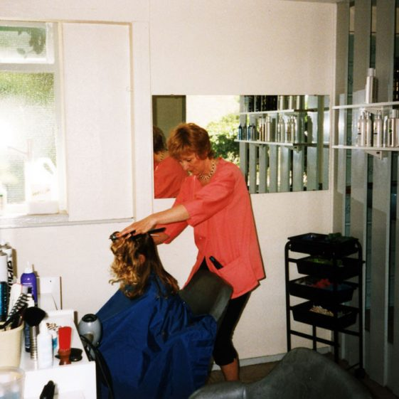 Last working days of Sylvia's Hair Shop in Well Lane in 1996