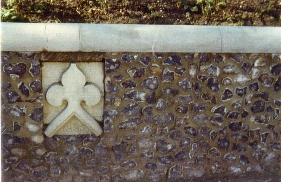 A section of the 'garden' wall on the High Street below the church. c.2002