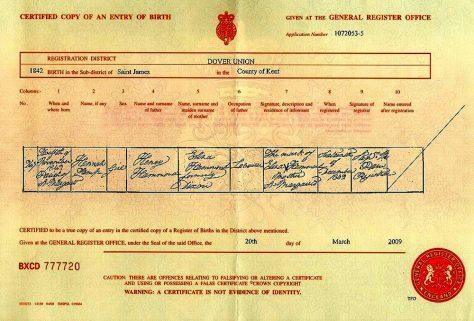 Birth Certificate of Hannah Kemp Hammond. 12 November 1842