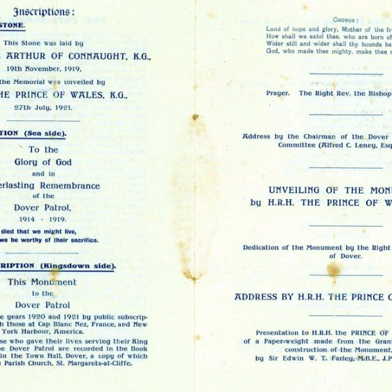 Programme for the unveiling of the Dover Patrol Memorial. 27 July 1921