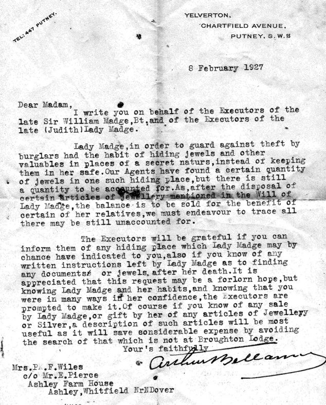 Letter from the Executors to the late Lady Madge to her companion Mrs Wiles for assistance in locating any jewellery. 6th February 1927